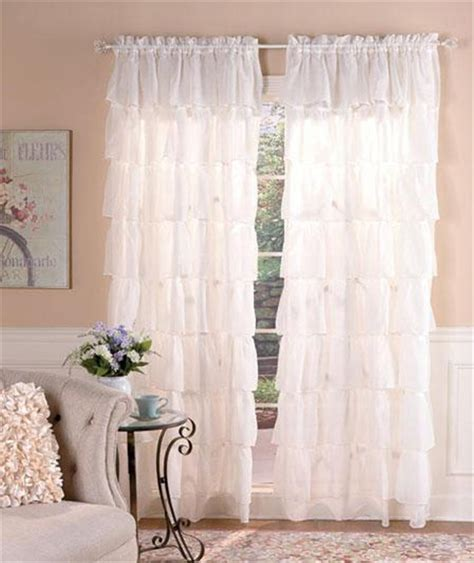 Ruffled Window Curtains Semi Sheer Ruffled Window Treatment Curtain Panel Ecru White Or