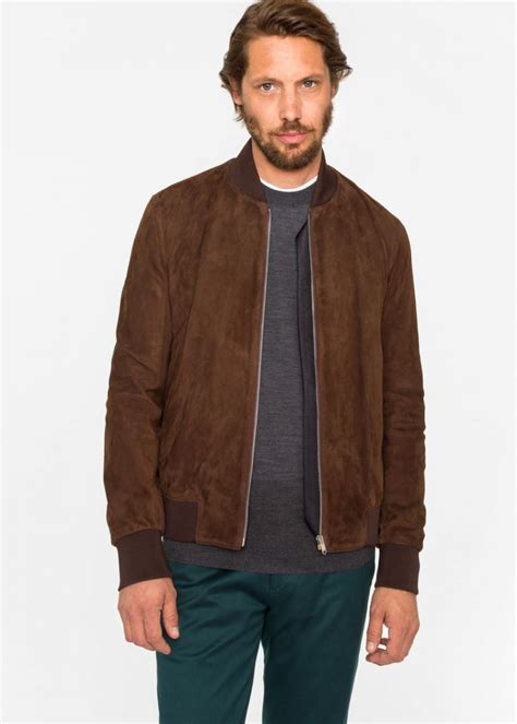 Bomber Suede coats jackets brown paul smith suede bomber jacket