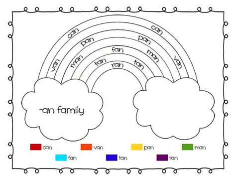 christian rainbow coloring pages rainbow word families printable worksheets