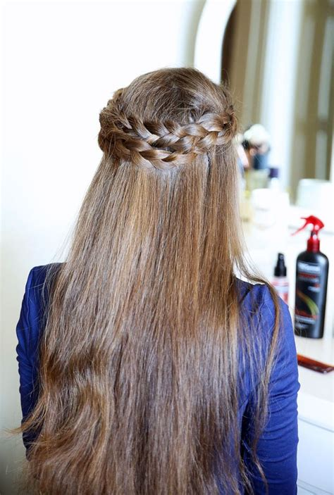hair braid across back of easy crown braid tutorial southern curls pearls