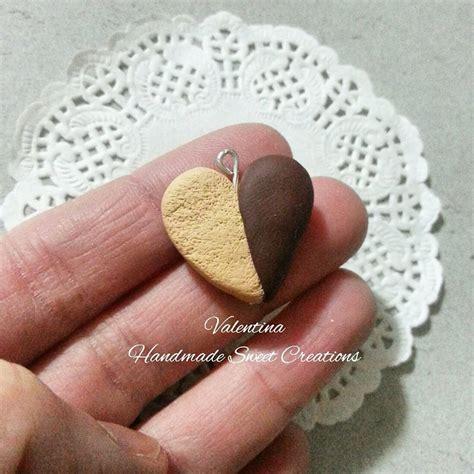 Charm Kura Kura Tembaga 2cm ciondolo biscotto a forma di cuore con cioccolato fimo