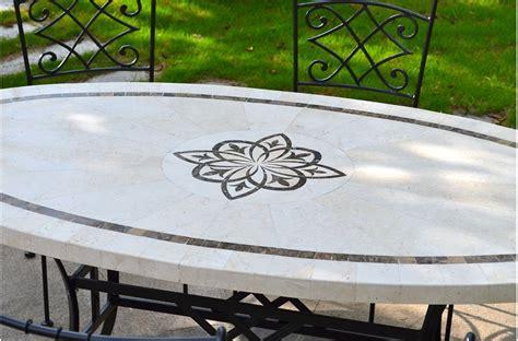 table mosa 239 que de jardin en naturelle ellipse