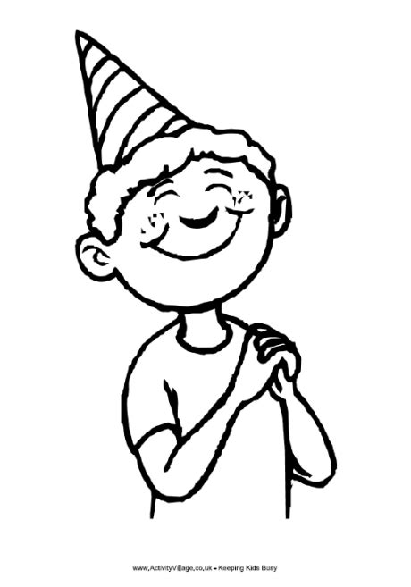 birthday boy colouring page