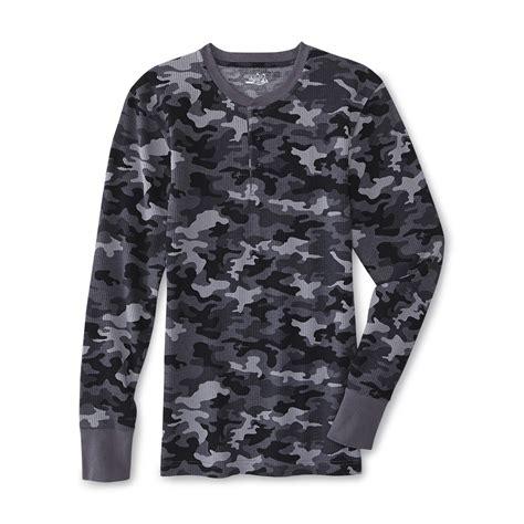 joe boxer mens thermal henley shirt camouflage