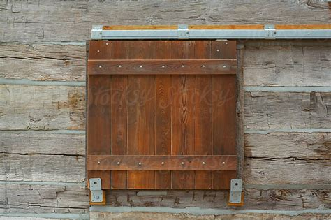Barn Door Style Window Shutter On A Log Cabin By David Barn Door Window Shutters