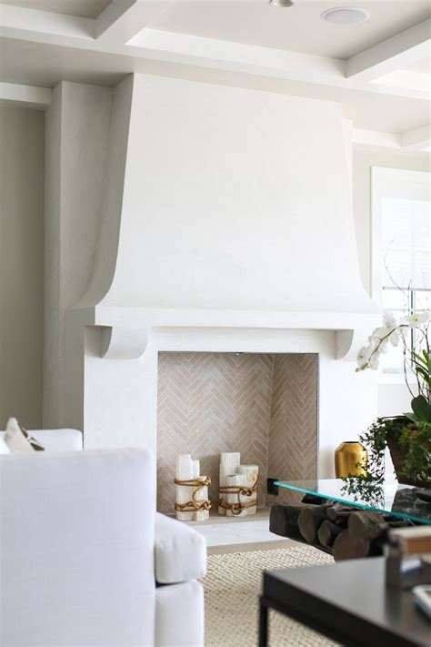fireplace idea  birch logs white fireplace coastal
