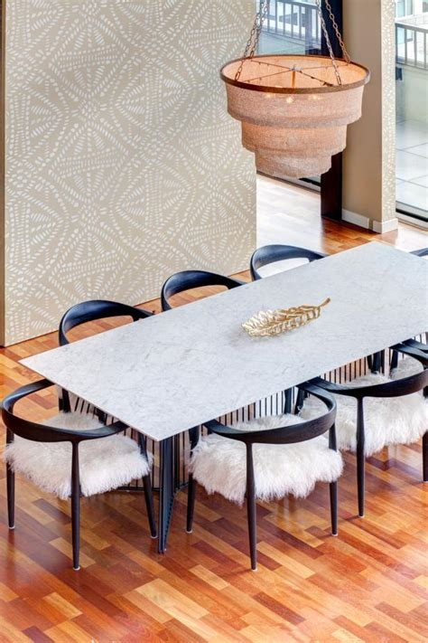 beaded chandelier adds boho touch  eclectic dining room