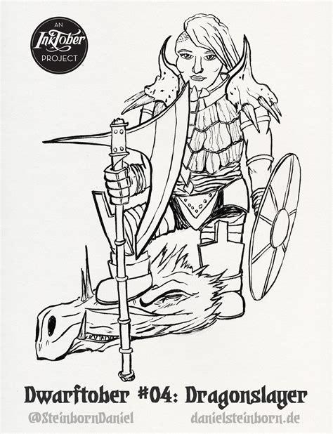 dragon slayer coloring page daniel steinborn inktober 2016 day 4 dwarf dragonslayer