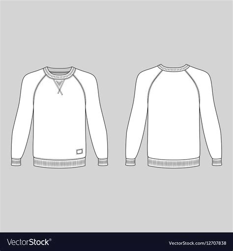 Raglan Long Sleeve T Shirt Outlined Template Royalty Free Vector Image Vectorstock Sleeve T Shirt Template Vector Free