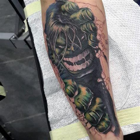 cartoon tattoo forearm cartoon style colored forearm tattoo of evil hulk portrait