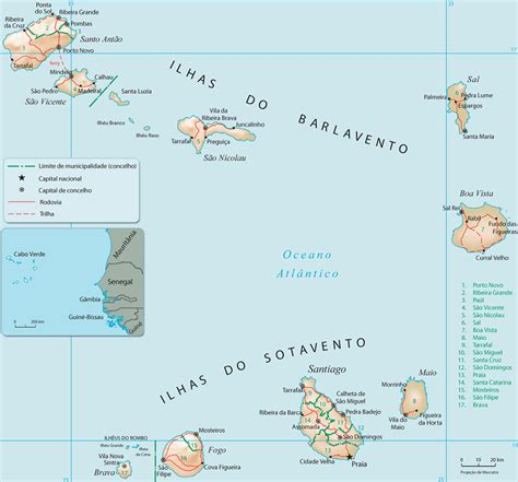 mapa cabo verde ilhas do barlavento cape verde map - Mapa De Cabo Verde