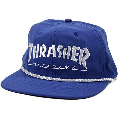 Topi Hat Hat Thrasher thrasher magazine rope snap back hat in stock at spot skate shop