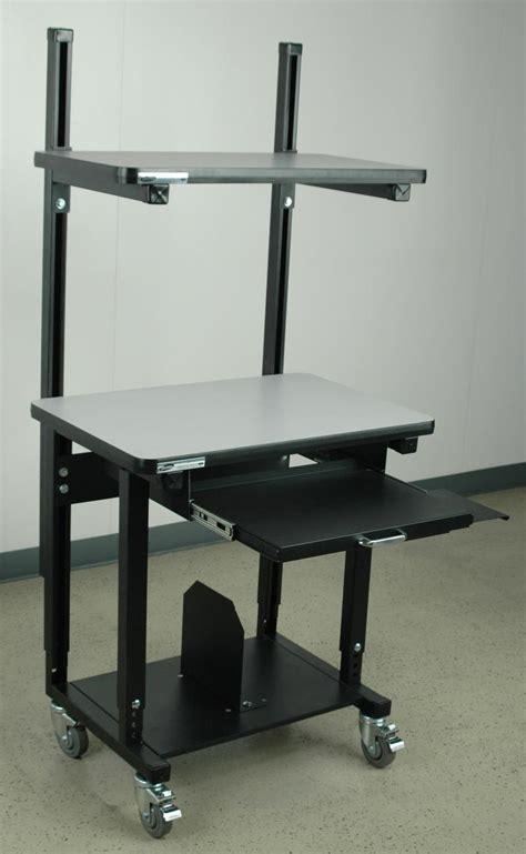 Stackbin Workbenches Mobile Computer Desk W Top Shelf Mobile Computer Desks Workstations
