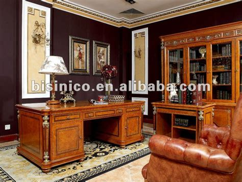 antique classical wooden home office furniture set moq
