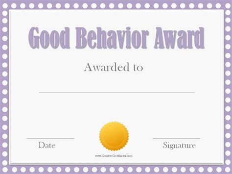 reward certificate templates behavior award certificates