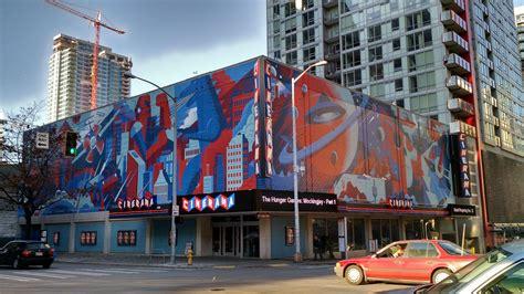 Brick Wall Mural cinerama has a slick new paint job seattle