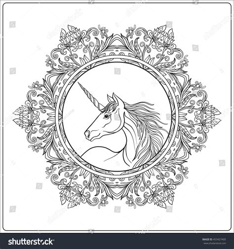 maggie the magic unicorn coloring book books unicorn vintage decorative floral mandala frame stock