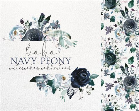 Blue Boho boho chic navy blue white peonies roses watercolor floral