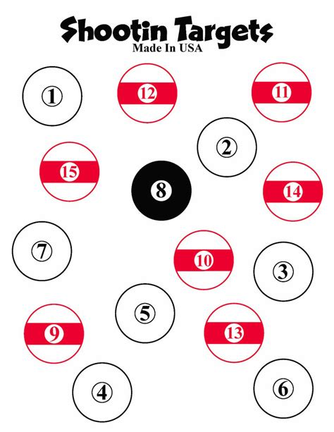 printable dot targets 100 pool ball paper shooting targets 8 5x11 free shipping