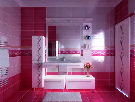 Decorating Ideas For A Pink Bathroom Cool Pink Bathroom Home Designs Project