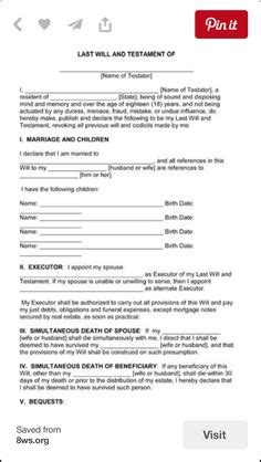 Last Will And Testament Template Form Arkansas Download Free Ms Templates Planning Arkansas Will Template