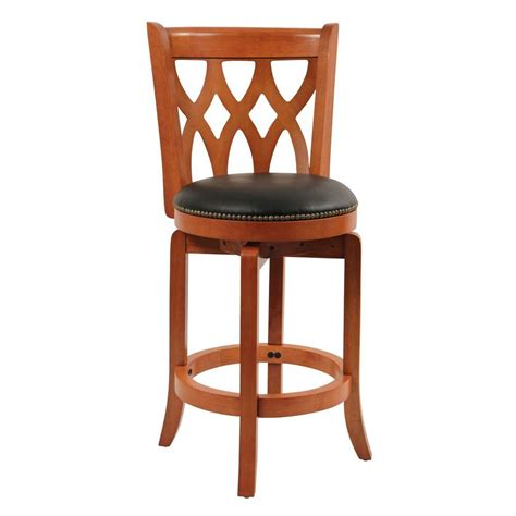 cushioned bar stool boraam cathedral 24 in cherry swivel cushioned bar stool
