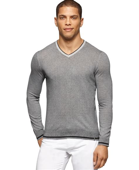 10 Calvin Grey Sweater Calvin Klein V Neck Micro Cable Knit Sweater In Gray For