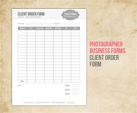 photography order form template the world s catalog of ideas