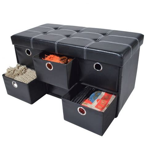 collapsible storage ottoman collapsible 6 drawer storage ottoman