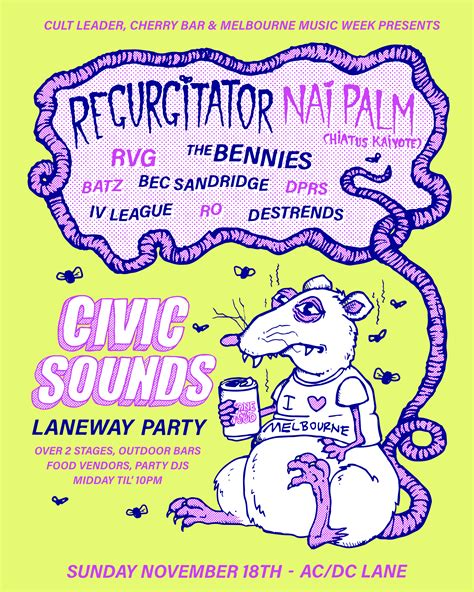 Digital Poster Esound Poster civic sounds laneway 2018 sun 18 nov ac dc