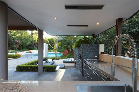 outdoor area outdoor living with sunken lounge kitchen food preparation