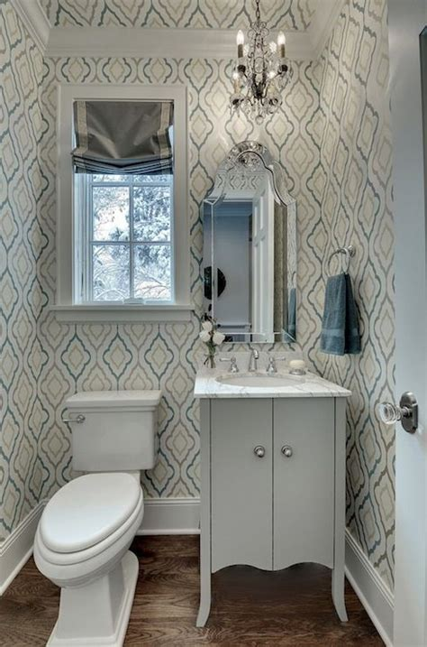 gray powder room chic small powder room with blue and gray quatrefoil