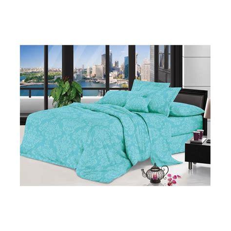 Sprei Dan Badcover Set jual lidia polos emboss set bed cover dan sprei blue harga kualitas terjamin