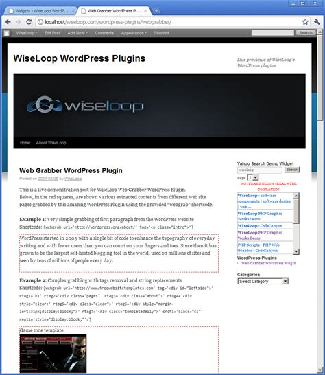 yahoo widget layout web grabber wordpress plugin tag based web extractor