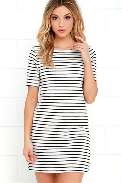 Striped Dress ivory dress striped dress knit dress 38 00