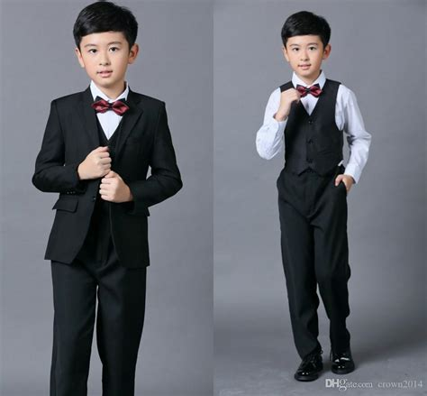 Setelan Vest Kid cheap boys suits for weddings black boy suit five suit formal bow tie vest