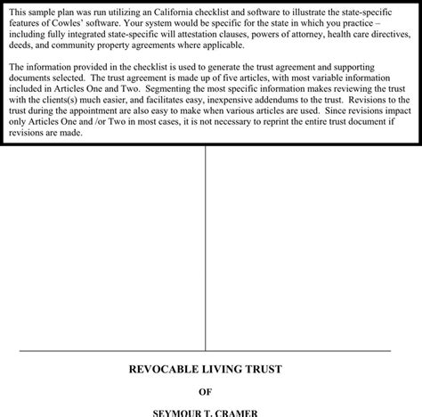 revocable living trust template living trust form free premium templates