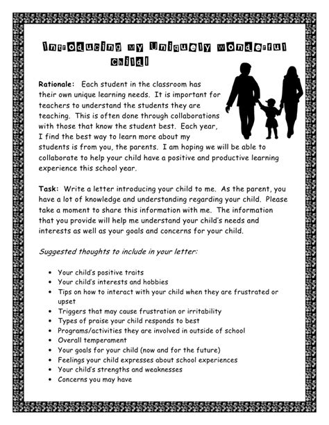 Parent Letter For Compass Learning Parent Letter Introducing Child To