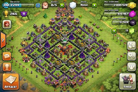 coc village layout th10 base layout th10 brevinson clashing