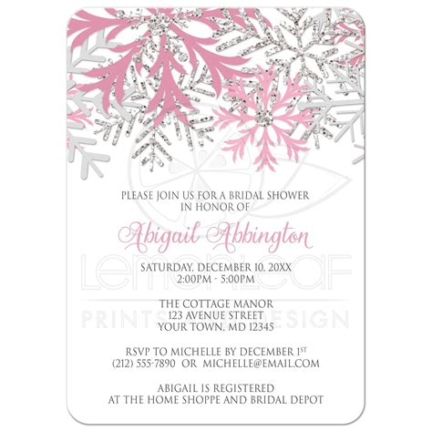 silver and white bridal shower invitations bridal shower invitations winter snowflake pink silver