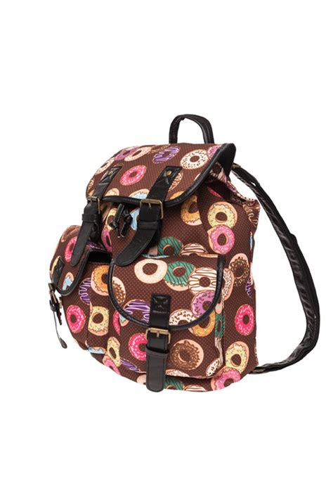 Print Canvas Backpack donuts print canvas backpack