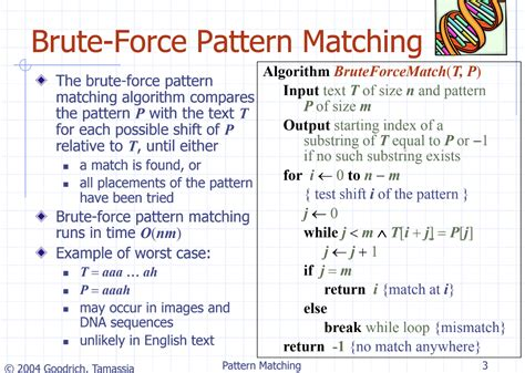 questions on pattern matching solved the brute force pattern matching algorithm on the