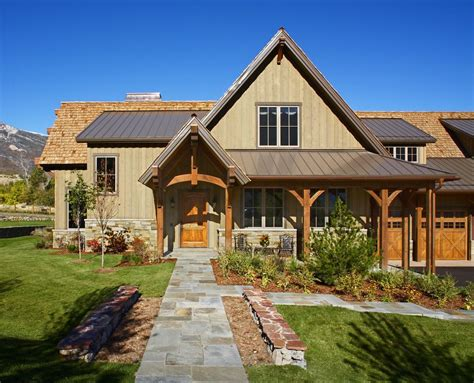 bronze metal roof entry rustic  shed dormers