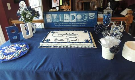 butler university bound graduation party cake  decorations table butler university blue