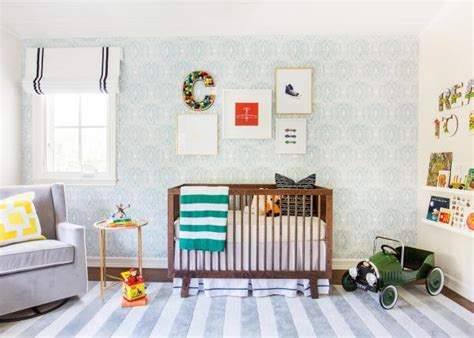 J And J Design Group Adorable Boy S Nursery Design With | boy s contemporary nursery with blue damask wallpaper j