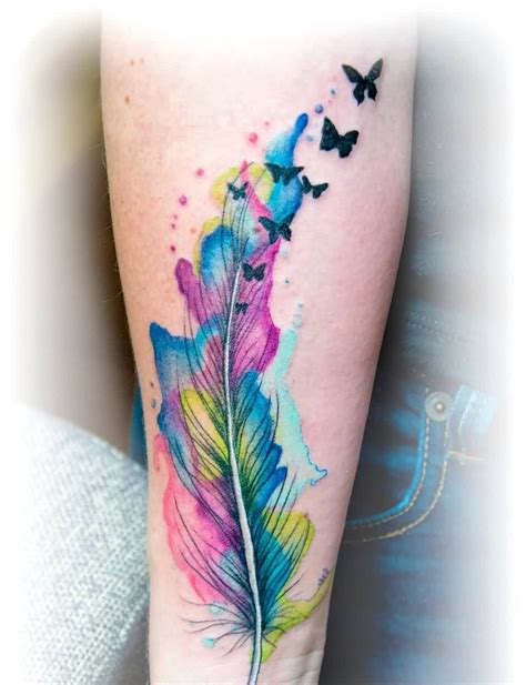 watercolor tattoos feather watercolor feather butterfly