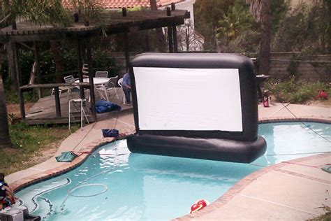 swimming pool movie inflatable swimming pool movie screen hiconsumption