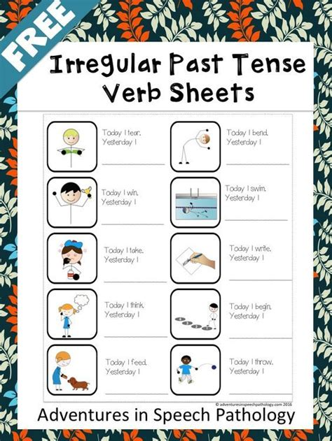 sentence pattern past tense 8619 best images about speech and language school stuff