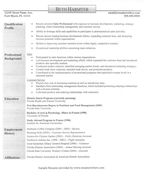 sle of a resume format sales professional resume exles resumes for sales