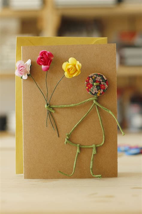 Handmade Cards With Buttons - handmade card with buttons and paper roses slanchogled
